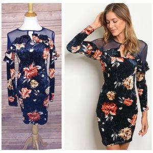 (XS- L) Navy Floral Dress - faux velvet